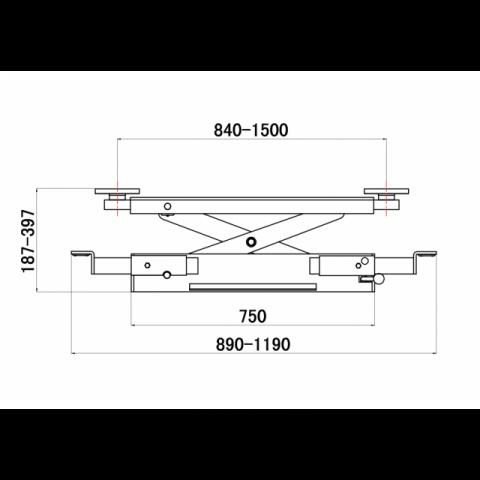 Abbildung: Achsfreiheber für 4-Säulenhebebühne (technische Zeichnung Seitenansicht)