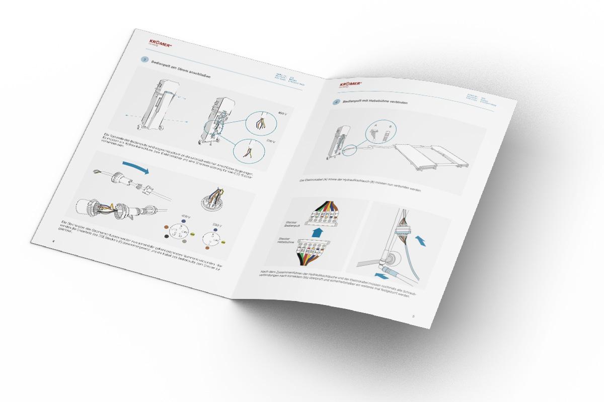 Beispielbild der Kurzanleitung bestehend aus großen Grafiken und Beschreibungen